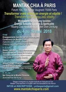 Mantak Chia à Paris du 4 au 10 mai, une occasion extraordinaire de recevoir des enseignements précieux.